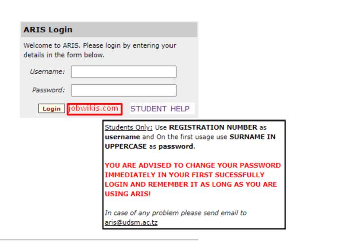 How to Login in ARIS UDSM 2021