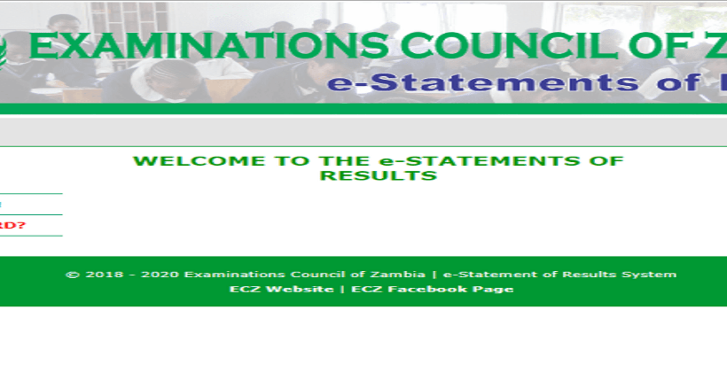 How to Check for ecz e-statement of Results 2020 Download