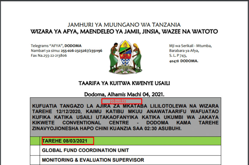 Call For Interview at Wizara ya Afya Ministry of Health,Community Development, Gender, Elderly and Children