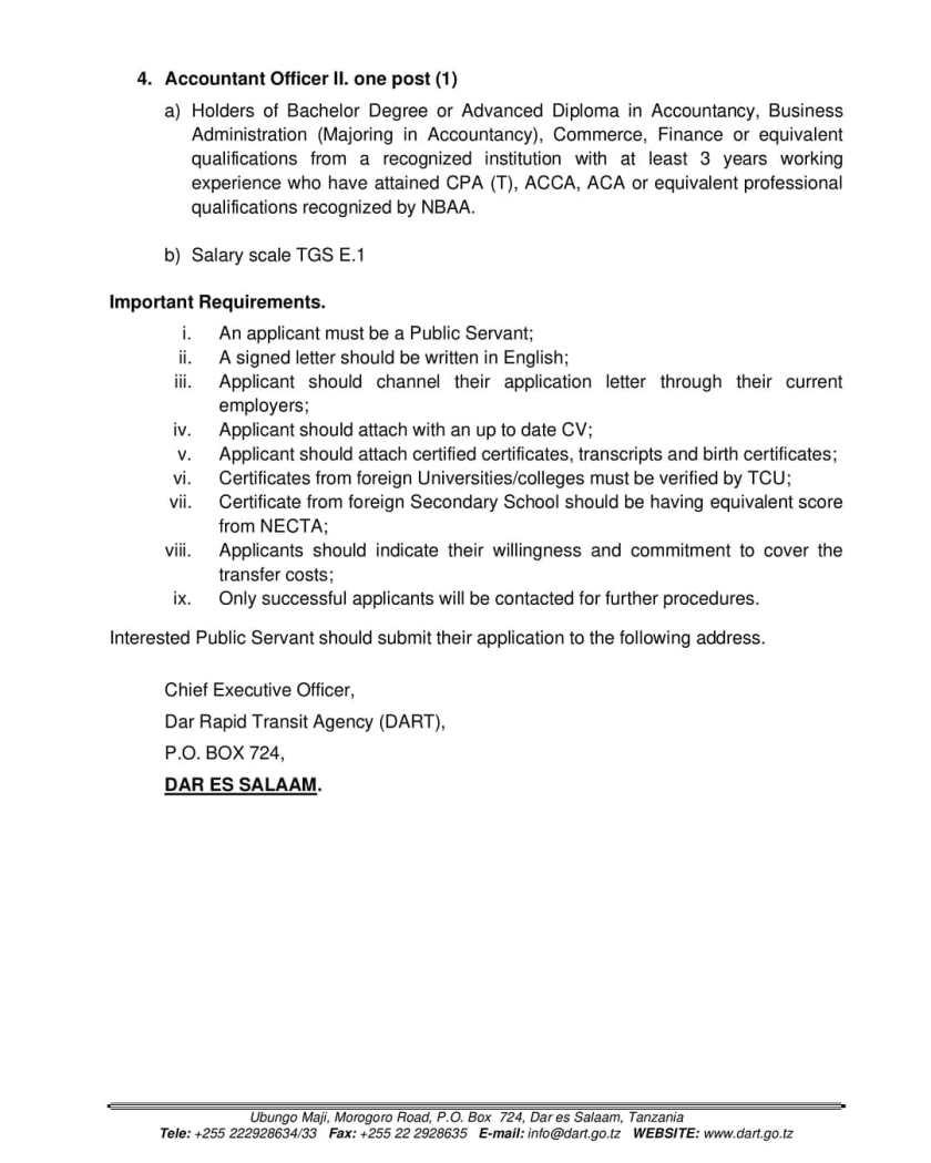 New Jobs at DART   Ajira Mpya 2021