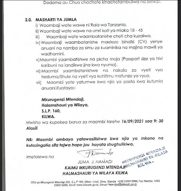 Jobs at Kilwa District 2021 | Watendaji wa Vijiji