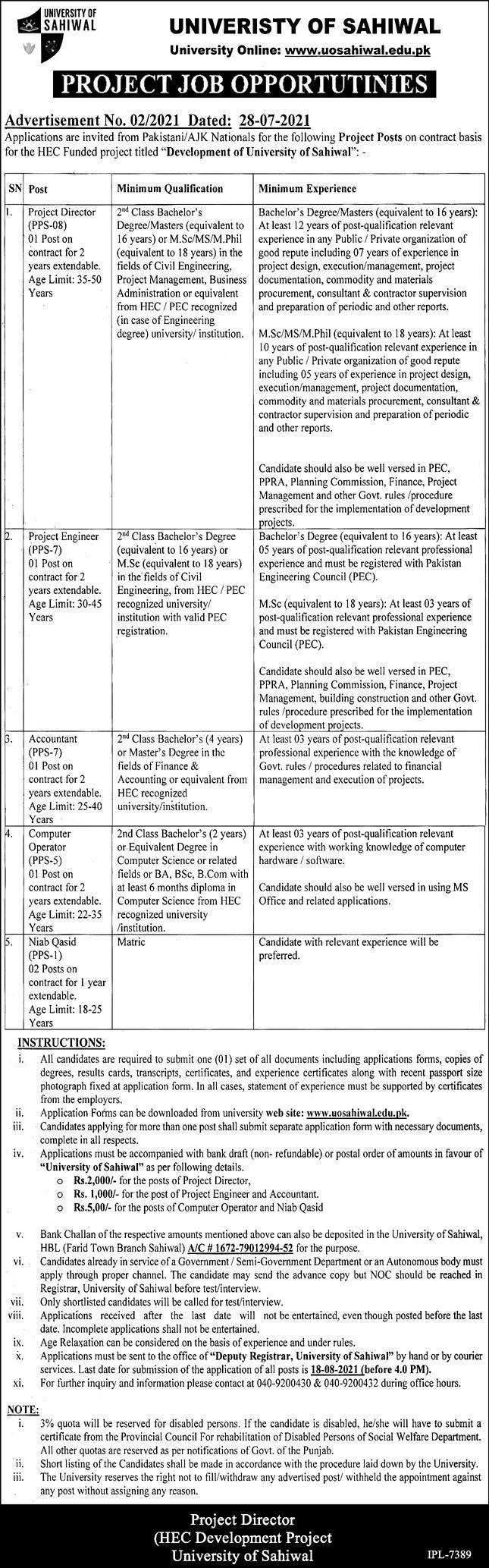 University of Sahiwal Jobs in Punjab