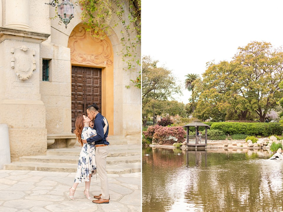 The couple sharing a kiss in front of the large door and bougainvillea at the Santa Barbara Courthouse. A second photo of the couple standing in a gazebo during their Alice Keck Park Engagement Session with the pond and large green trees in the photo.