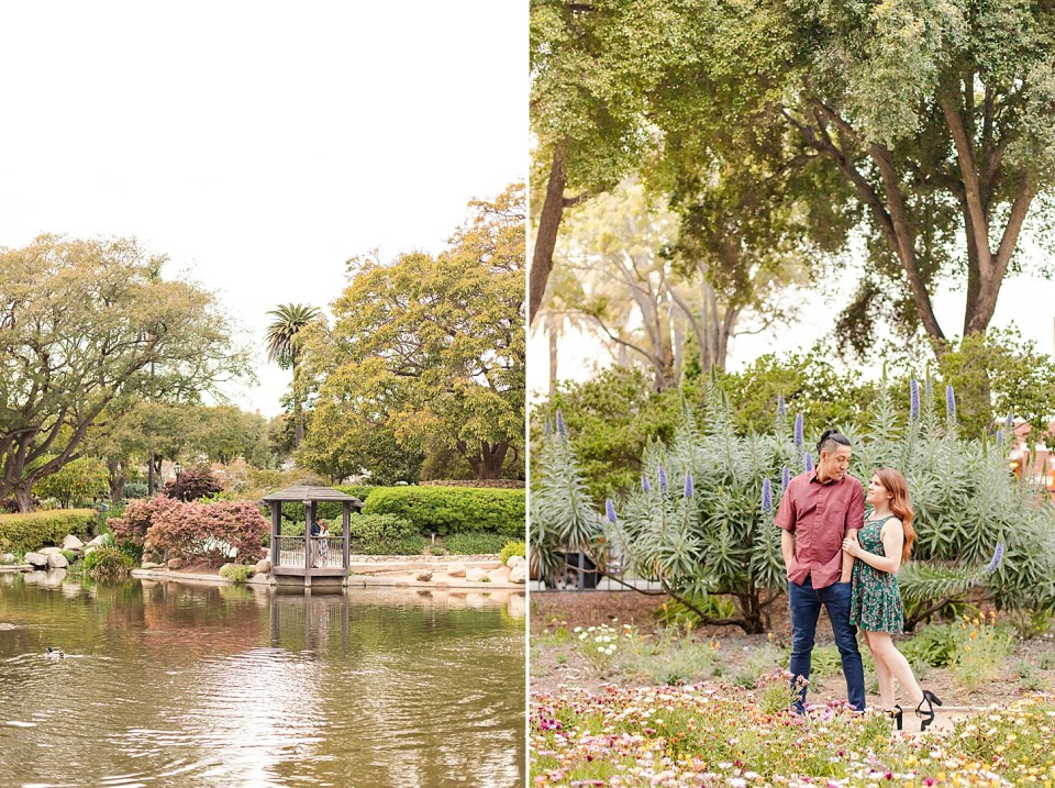 The couple sharing an intimate moment in the gazebo during their Alice Keck Park Engagement session. And the couple standing behind many different colored flowers as they look at each other and smile.