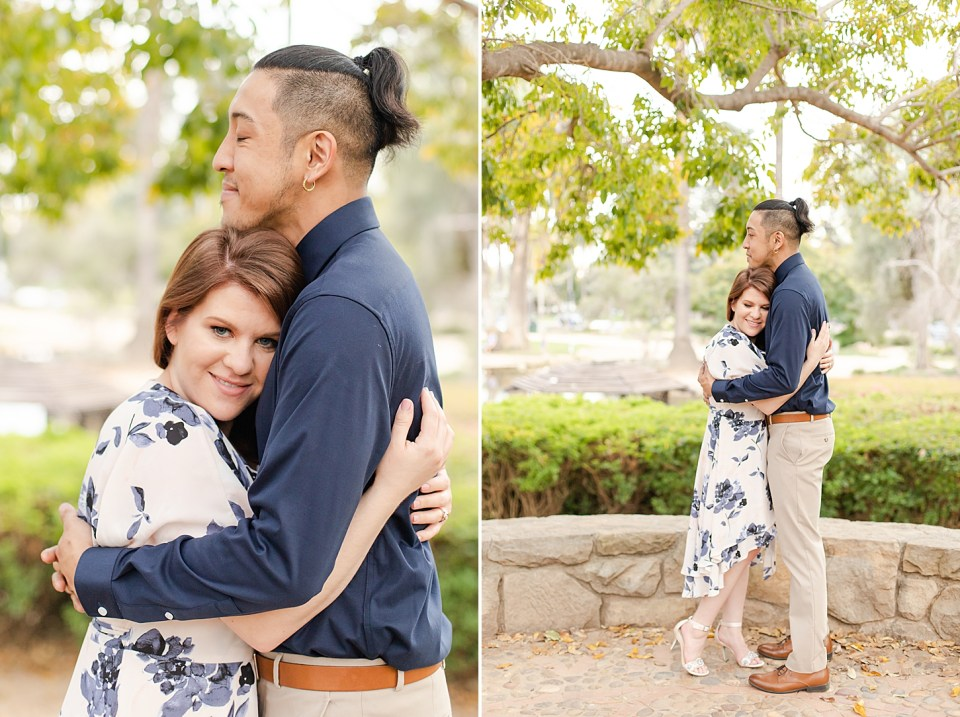 A close of photo of Danielle smiling at the camera and Ray resting his chin on the top of her head and smiling. A second photo of the couple hugging each other under some branches and green leaves at Alice Keck Park.