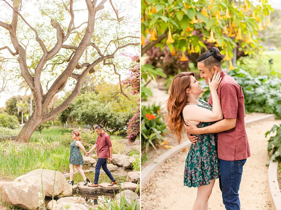 Danielle leading Ray across a small stream by the hand with a large tree with many branches in the background. The second photo is of the couple standing closely together. Ray wrapped his hand around her waist and she has both hands on his cheeks. They are leaning in for a kiss.