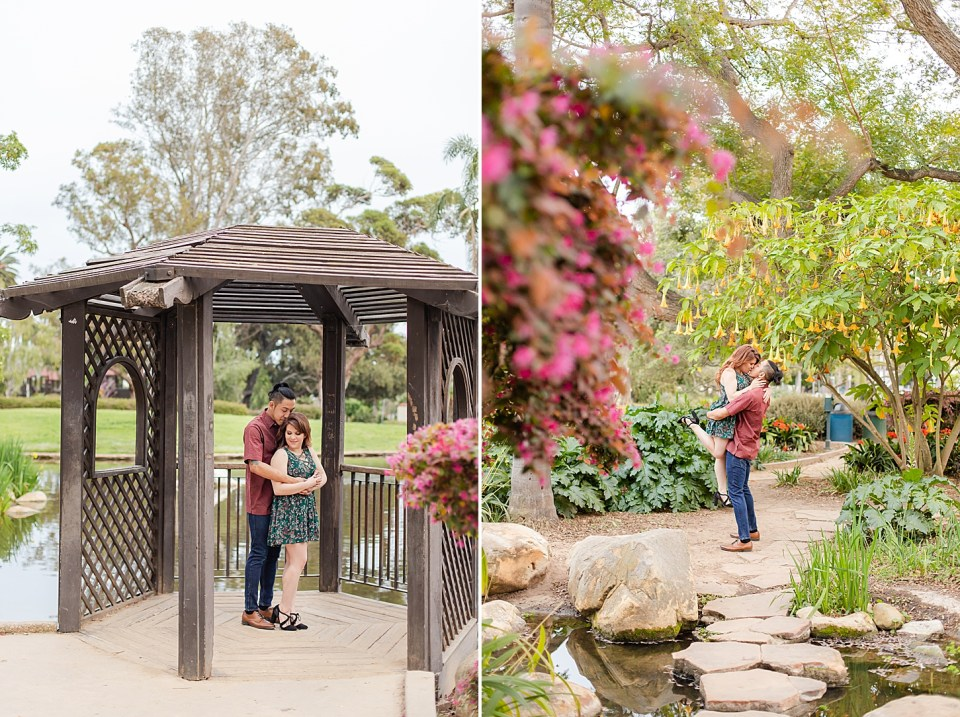 The couple standing in a gazebo at Alice Keck Park in Santa Barbara with the pond in the background. And a second photo of Ray lifting Danielle in the air and the couple sharing a kiss.