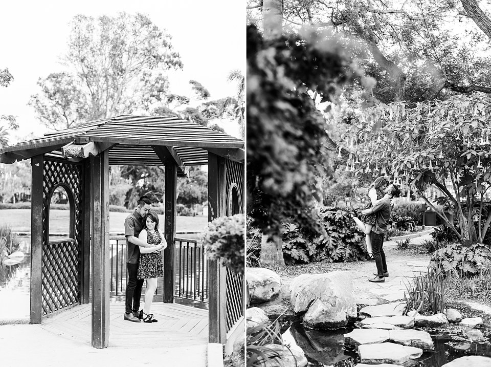 a black and white photo of the couple standing in the gazebo during their Alice Keck Park Engagement session. Ray is hugging Danielle from behind. A second black and white photo of Ray lifting Danielle in the air with trees and flowers all around. The couple is sharing a kiss while she is lifted by him.