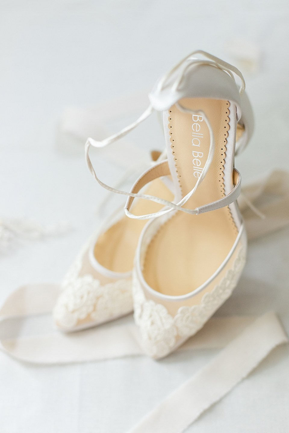 The bride's Bella Belle heels with lace.