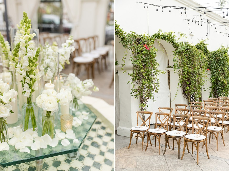 A photo of the couples florals on the center of the fountain for their Villa & Vine Wedding. A second photo of rows of chairs for the ceremony and green vines with red flowers hanging off the walls behind them.