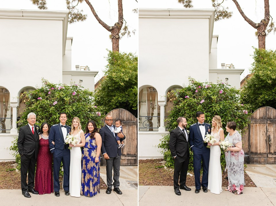 The couple with their family outside their Villa & Vine Wedding venue