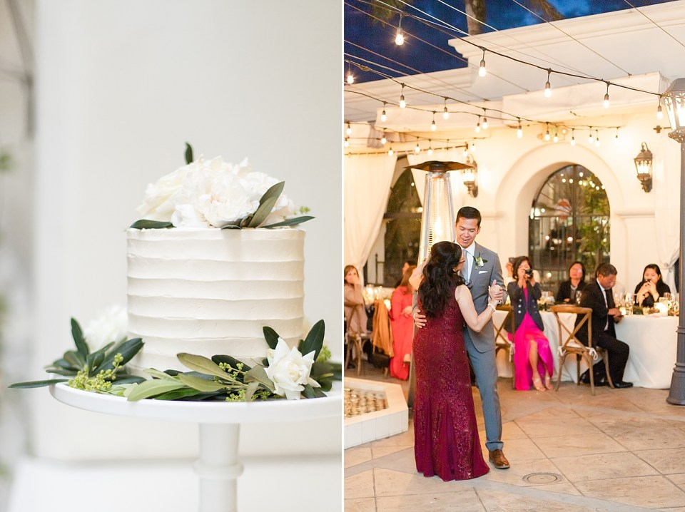 A close up of the wedding cake, and a second photo of the mother-son dance.