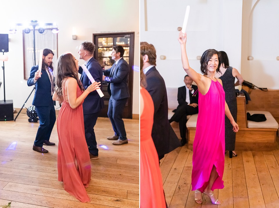 Photos of guests dancing at this Villa & Vine Wedding