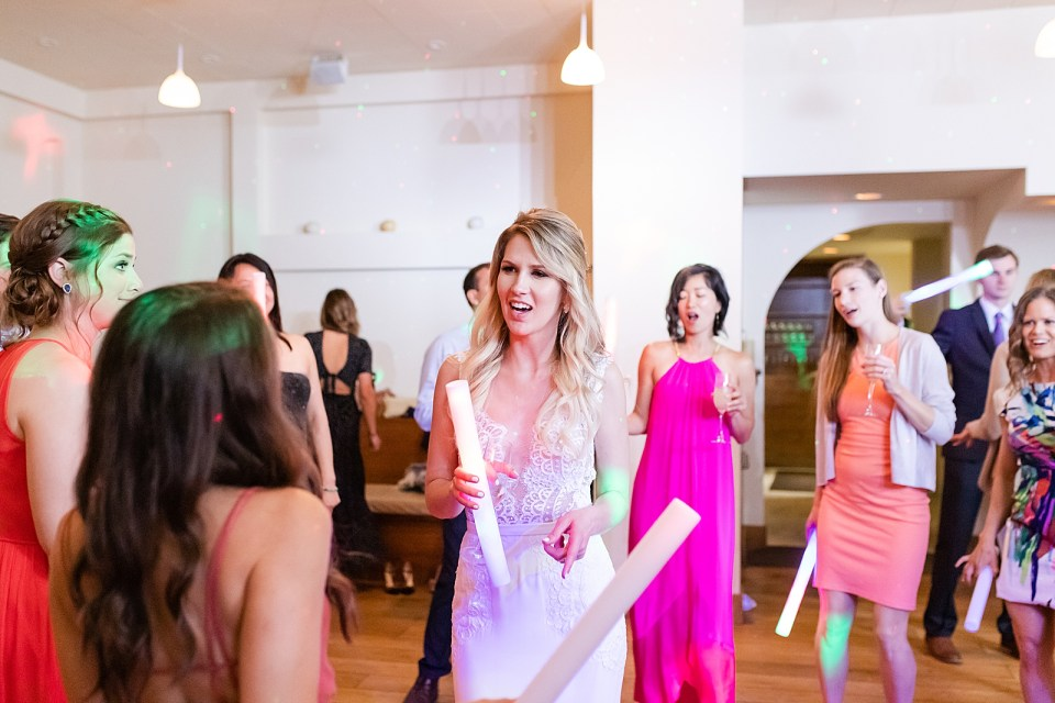 The bride surrounded by her friends and family as she dances to Taylor Swift.