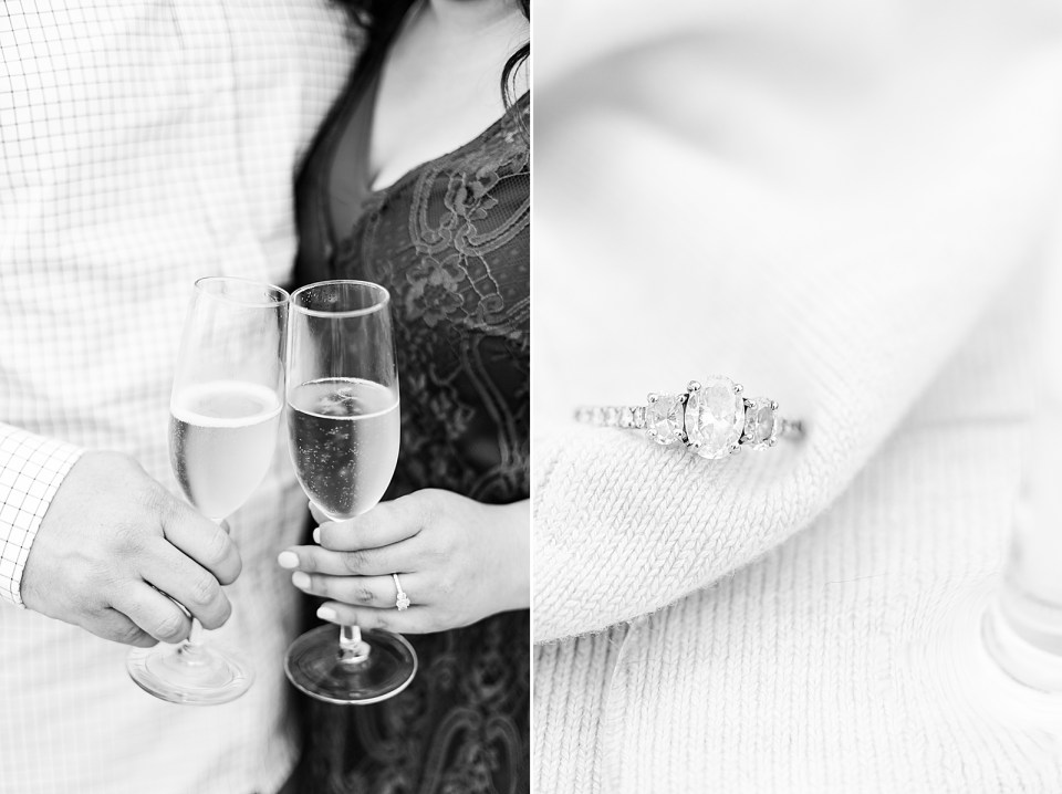 The couple holding champagne glasses together and a close up of Maddy's engagement ring.