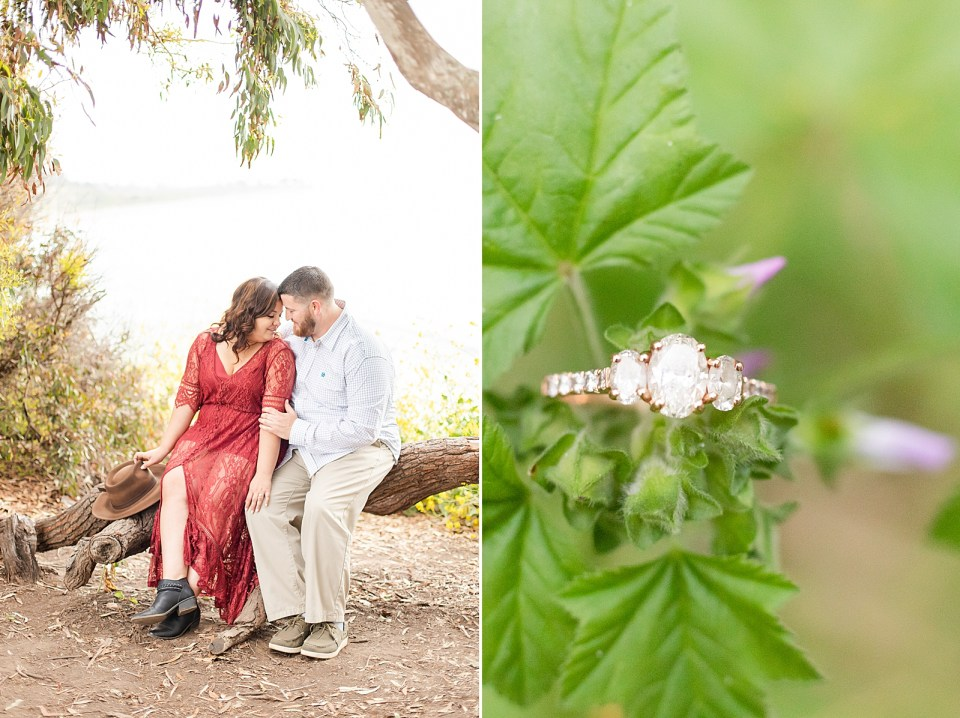 Maddy & Brian sitting on a fallen tree branch cuddling together and a second photo of Maddy's engagement ring on a green leafy plant.
