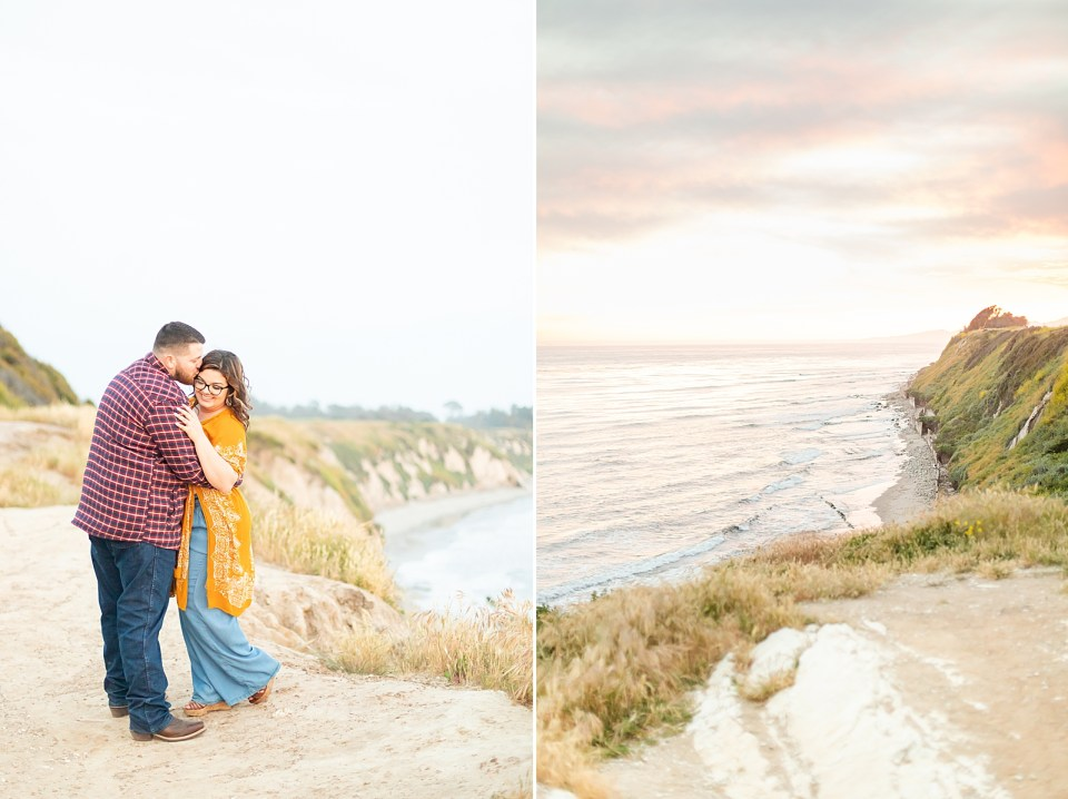 Brian kissing Maddy on her temple as she giggles down her shoulder with the ocean and bluffs behind them. A second photo of the ocean bluffs in the sunset.