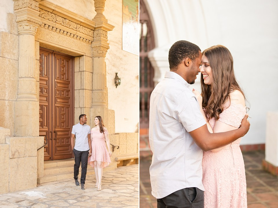 Sarah is wearing a blush dress with sleeves and Myles is wearing dark gray pants with a light blue shirt. The couple is walking hand in hand smiling at each other. The second photo is of the couple holding each other closely and smiling at each other.