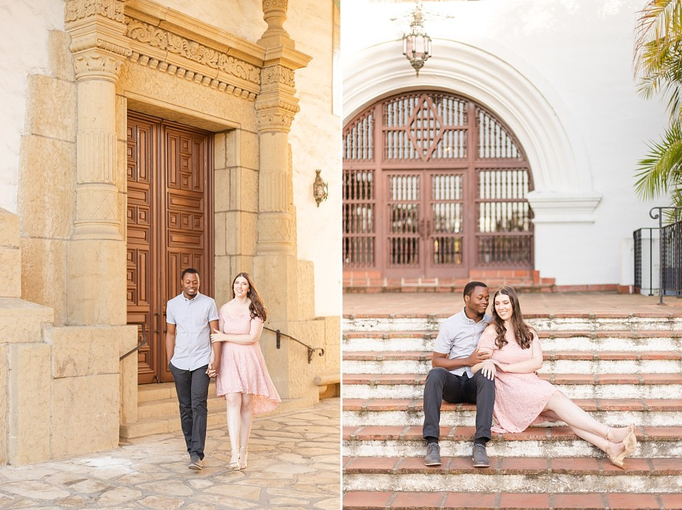 Sarah & Myles are walking with together hand and hand. A second photo of the couple sitting on the steps at the Santa Barbara Courthouse during their Alice Keck Garden Engagement session.