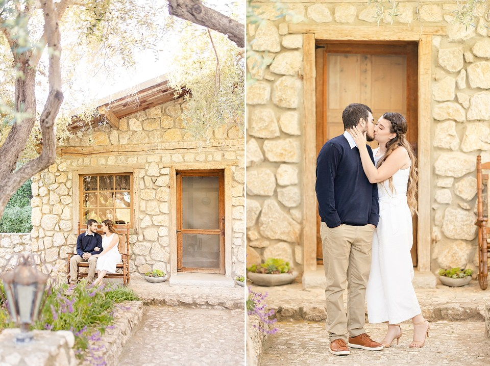 The couple sitting on a rocking bench in front of the Bridal Suite just off the path that leads to the door of the Stone Cottage. A second photo of the couple sharing a kiss in front of the door.