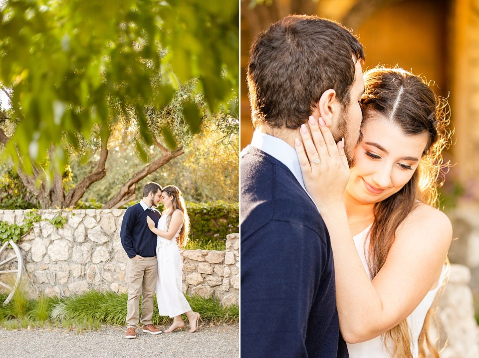 Sofia & Joey are standing close to each other as the sunlight hits them from behind making them glow. He is smiling at her and her hand is on his chest. Second photo of Joey kissing Sofia's forehead and her hand is on his cheek.
