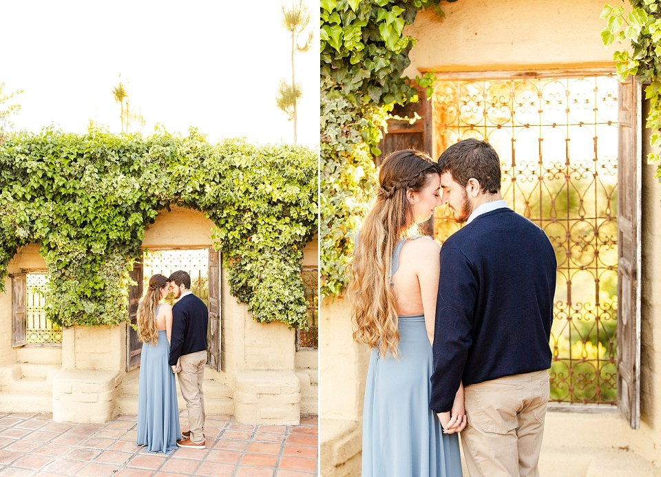 Pulled back photos of the couple sharing a moment forehead to forehead and a close shot of the same thing.