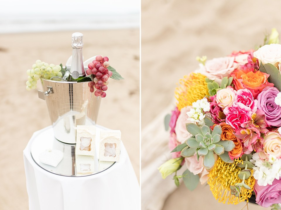 a bottle of non-alcoholic champagne in a bucket of ice with grapes hanging off to each side. And a second photo of the bride's colorful bouquet.