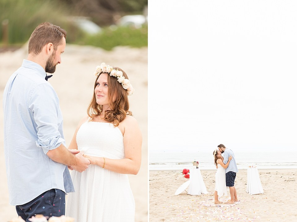 The couple holding hands during their ceremony. And a second photo of the couple sharing their first kiss as husband and wife with the sand and ocean waves in the background.
