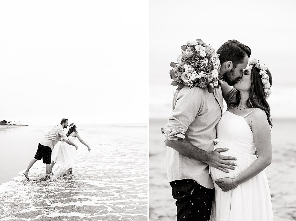 Black and white photo of the couple throwing their sand dollars into the waves. Second photo of the couple sharing a kiss