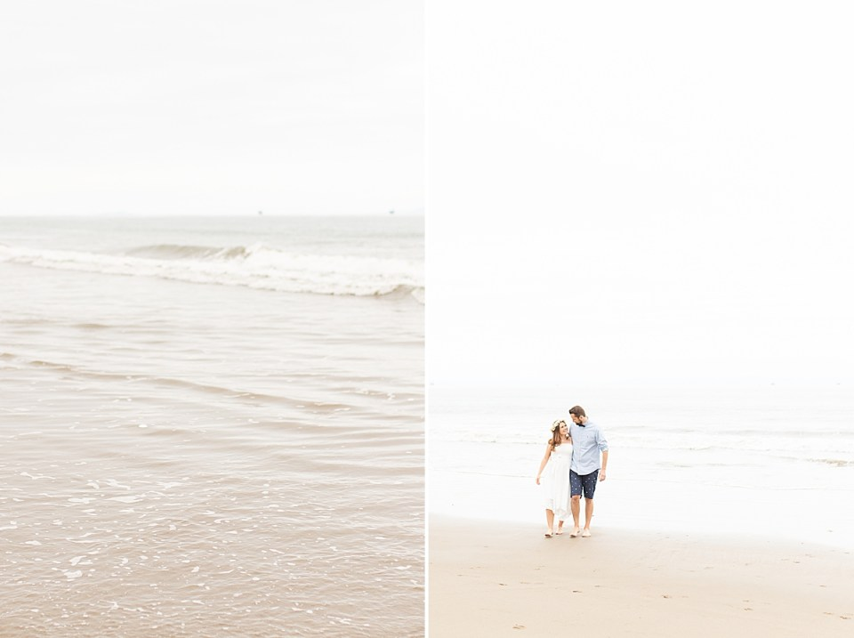 The ocean waves at Santa Claus Beach and a photo of the couple walking on the beach arms around each other.