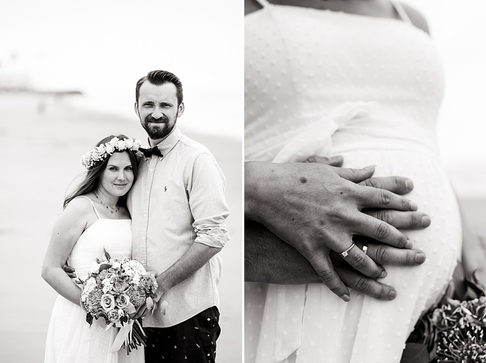 Gina & Michael smiling at the camera while standing together closely and a close up of the couples hands on Gina's stomach showing off their rings during their Santa Claus Beach Elopement
