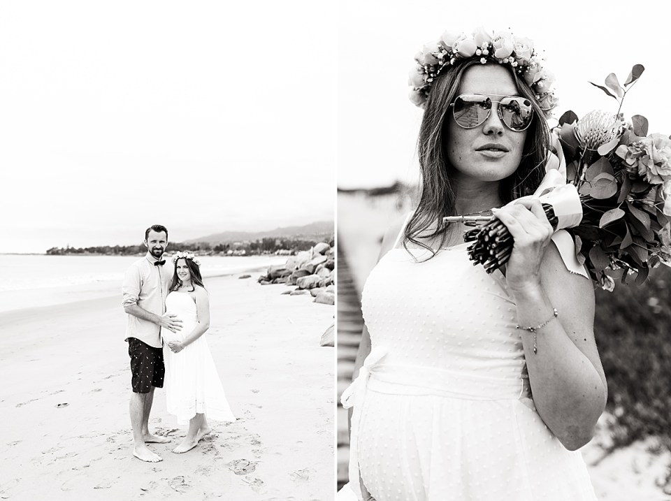 The couple standing on the beach smiling at the camera. And a second photo of the bride wearing sunglasses and holding her bouquet behind her looking just off camera with the groom standing in the reflection of the glasses.