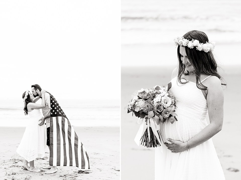 A black and white photo of the couple sharing a kiss while posing with the American flag and a photo of the Gina holding her bouquet and looking at her stomach.