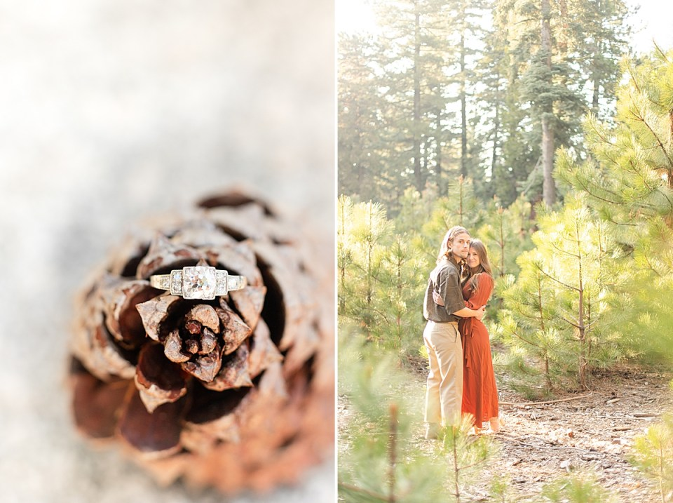 A close up photo of Abby's 1920 Deco engagement ring on a pine cone. A second photo of the couple hugging each other around the waist and touching their heads together while looking at the camera during their Lake Arrowhead Engagement session.