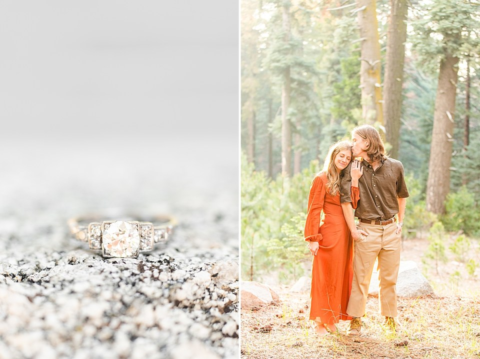 Close up of Abby's 1920's Deco engagement ring on a rock. And a second photo of Rothwell kisses the top of her forehead and Abby leaning on Rothwell's shoulder during their Lake Arrowhead Engagement session