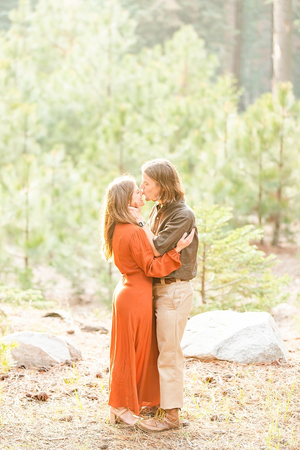 Abby & Rothwell holding each other close as Rothwell kisses her nose during their Lake Arrowhead Engagement session