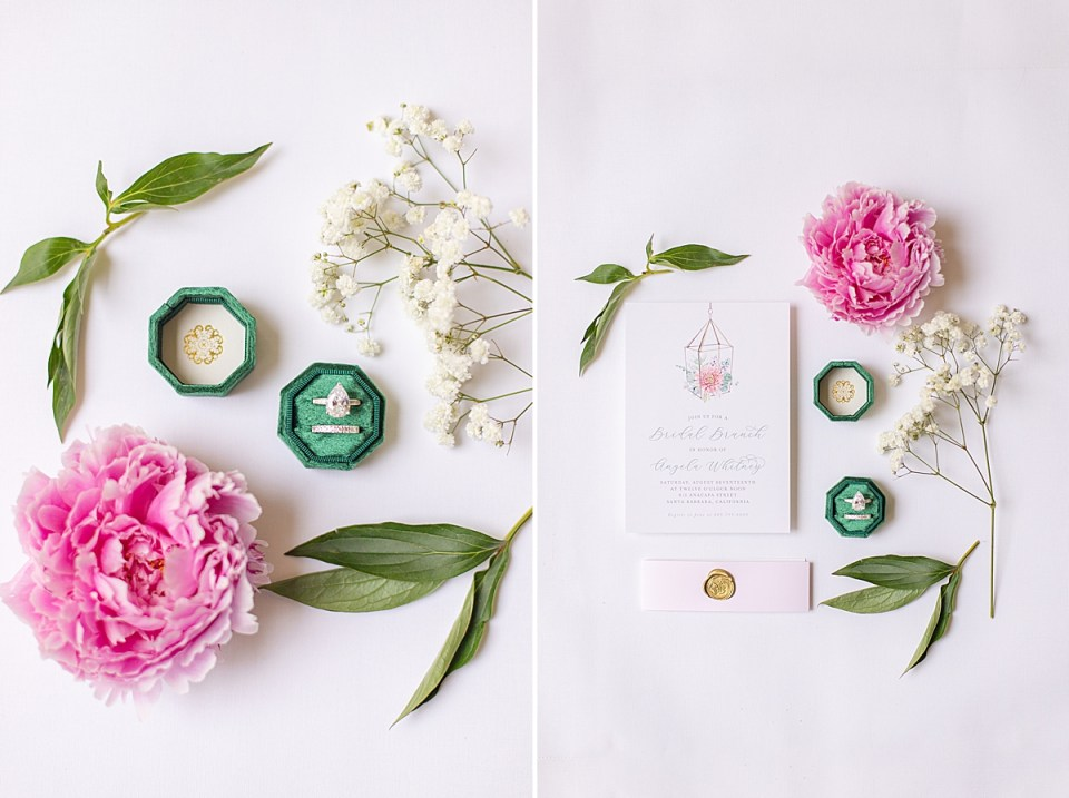 A pink Peony and greenery next to a ring box and a second image of bridal shower brunch invitations with greenery and florals.