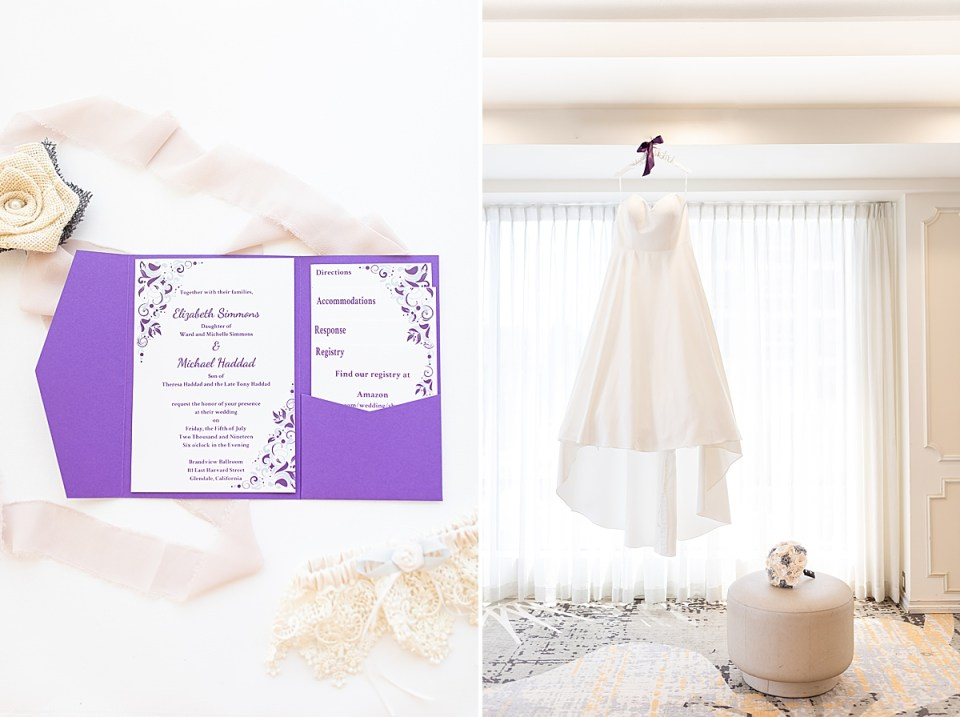A photo of lace, invitations, and Michael's white boutonnière. A second photo of the brides dress hanging by a window with her bouquet resting beneath it at their Brandview Ballroom wedding.