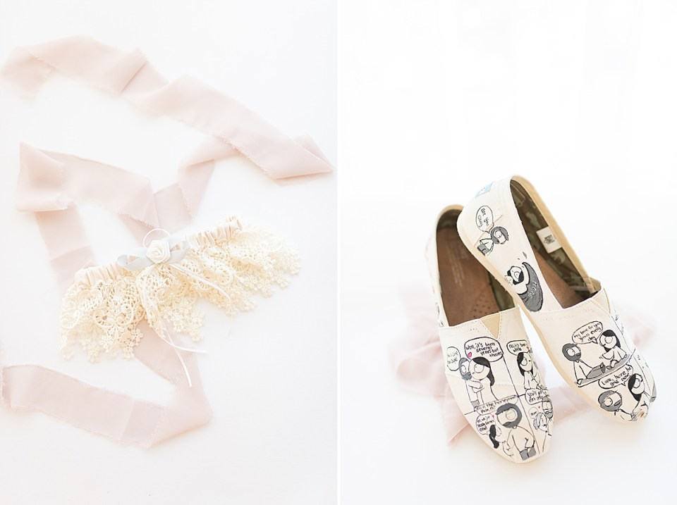 Betsy's garter next to light pink lace, and a second photo of the bride's shoes covered in drawings from CatanaComics.