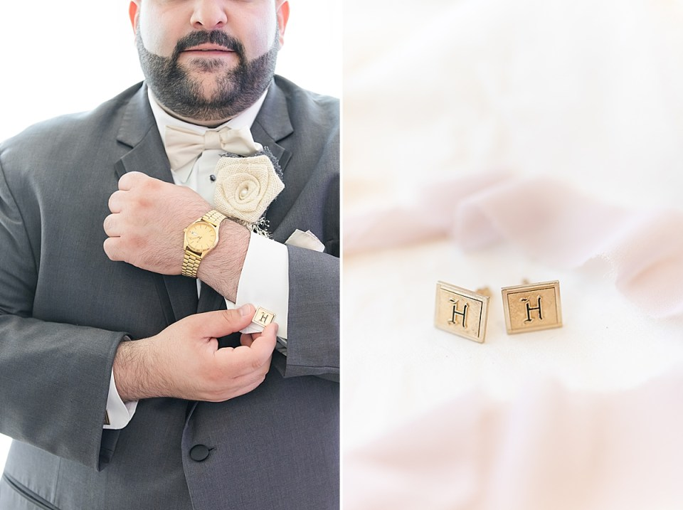 Michael showing his watch and holding his cufflink. A second close up photo of the groom's father's cuff links surrounded by pink lace.