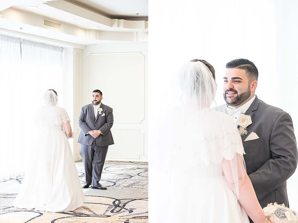 The groom turning around to see his bride for the first time on their wedding day.