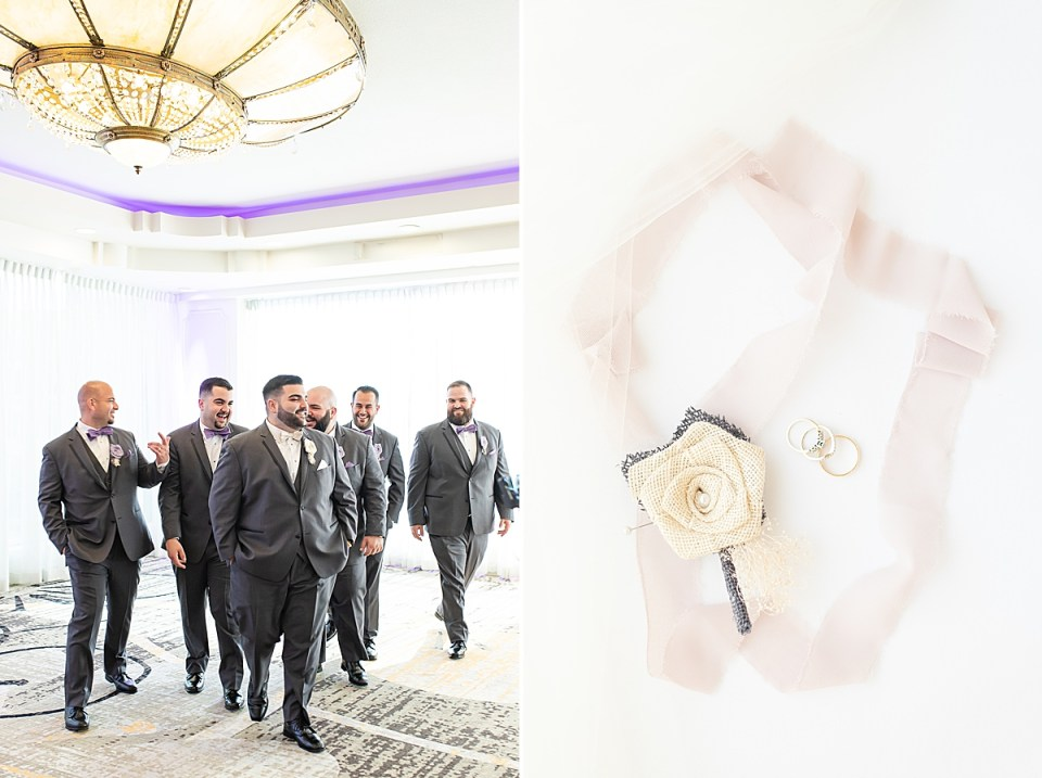 Michael and his groomsmen walking past the camera and a photo of the couples details.