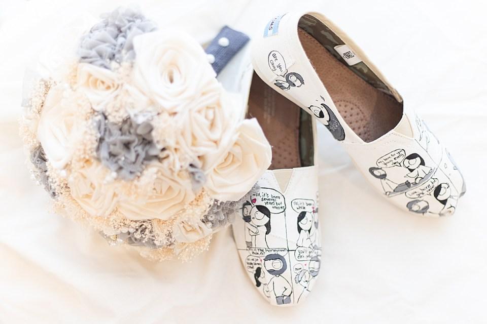 The brides shoes and bouquet.