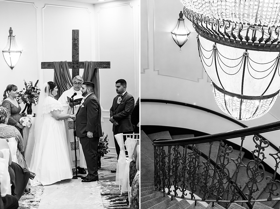 Betsy & Michael at the altar with their officiant. A second photo of the chandelier at the Brandview Ballroom.