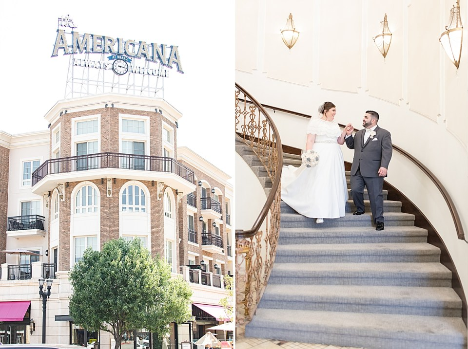 The Americana across the street from the Brandview Ballroom, and a second photo of Michael leading his bride by the hand down the staircase at their Brandview Ballroom Wedding.