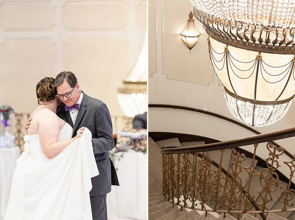 Betsy dancing with her father and a second photo of the large chandelier at the Brandview Ballroom.