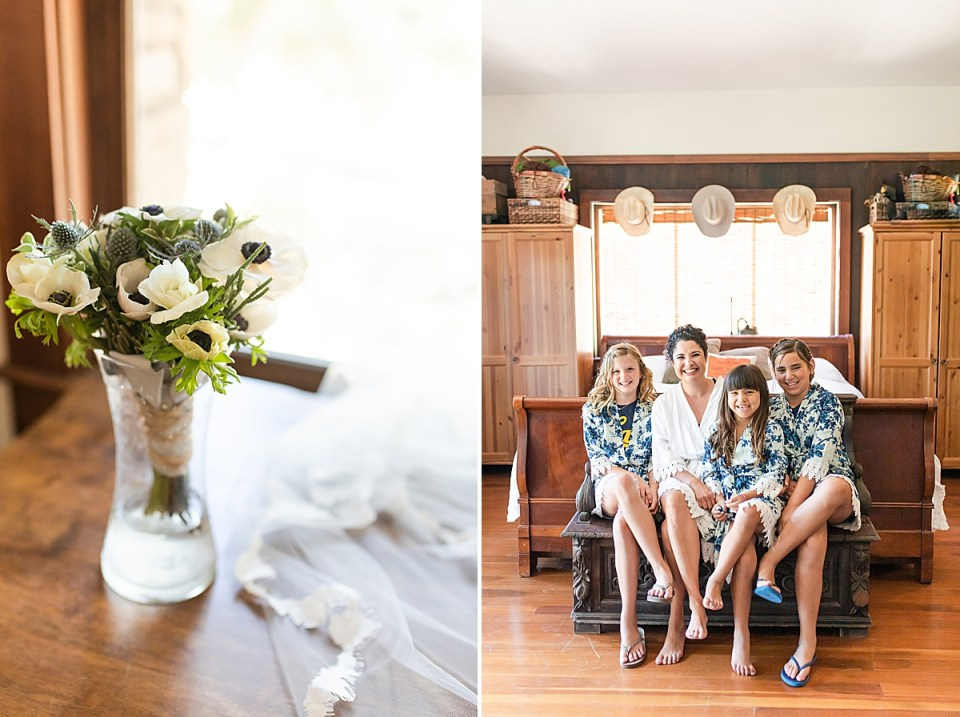 One of Brandi's bridesmaids bouquets on a table next to her veil, and a second image of Brandi with her jr. flower girls in matching robes sitting on a bed in her getting ready room.