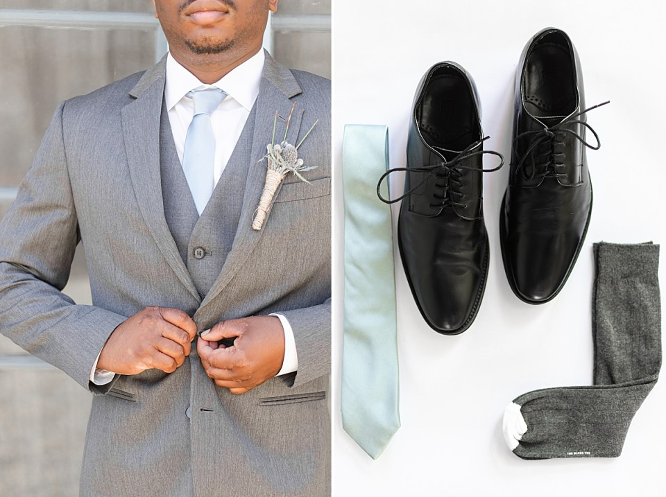 Victor in his gray suit fastening the button on his jacket. A second image of the groom's details, his black dress shoes, gray socks, and slate blue tie.