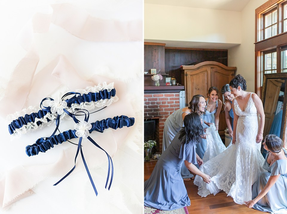 The bride getting ready as her bridesmaids help her. A second image of the bride's blue and white garter surrounded by blush lace.