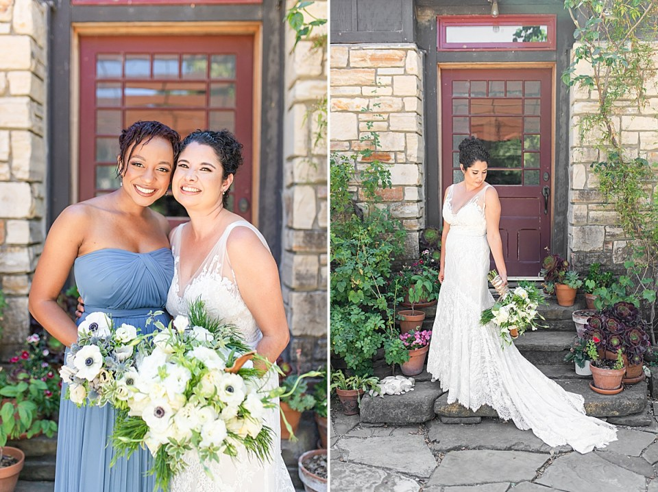 Brandi and her bridesmaids. A second image of Brandi looking down her shoulder at her bouquet and her train
